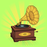 Gramophone comic book pop art retro style raster