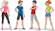 Cartoon athletes. Runner characters wearing sport outfit.