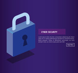 isometric padlock cyber security vector illustration design