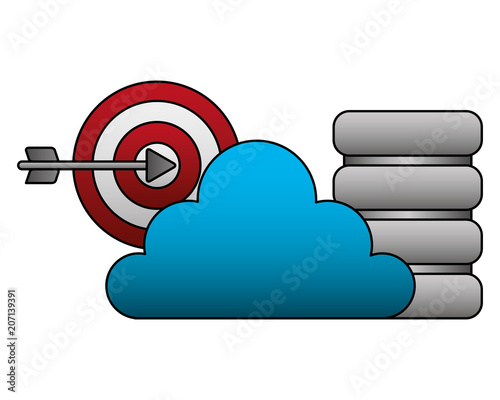 cloud computing batabase center and target vector illustration