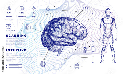 Human brain in Innovations systems global study of the connection with robotics and the development of science in the field of the cyber industry. Realistics point style with linear inphographics pict
