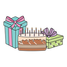Happy Birthday Design  Cake And Gift Boxes Over   Colorful Design  Illustration Sticker