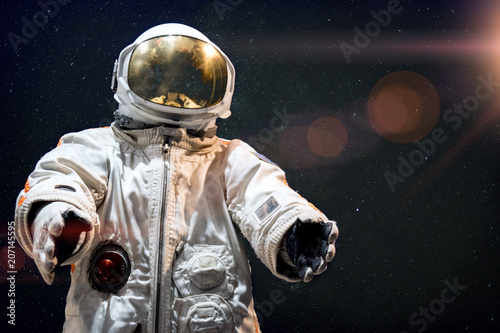 Soviet cosmonaut in outer space. Photomontage image. - 207145595