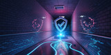 Underground cyber security hologram with digital shield 3D rendering - 207148786