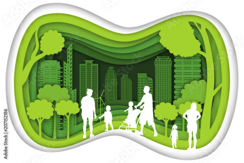 Plexiglas Lime groen Carving design of city urban and family with green nature as happy family, quality of life, ecology idea, Paper cut art and craft style concept. vector illustration.