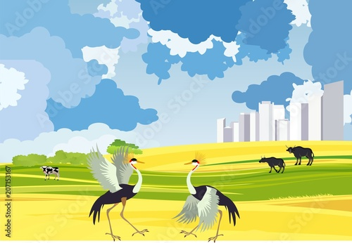 Fotobehang Blauw Two crane dancing in the steppe, city buildings, vector landacpe concept illustration
