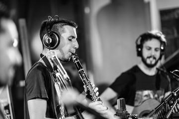 Musicians in Recording Studio, Black and White