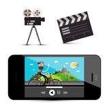 Movie Player on Smartphone, Camera and Clapper Board Isolated on White Background. Media Icons. - 207163549