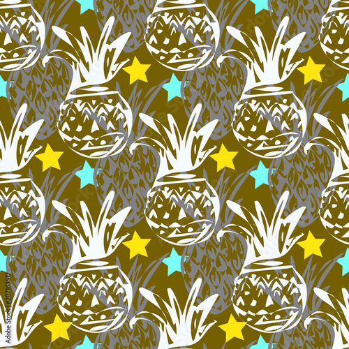 Seamless pattern with tropical motif   - 207163512