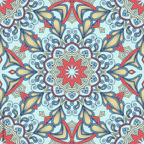 Cotton fabric Hand drawn ornamental seamless pattern. Vector Illustration