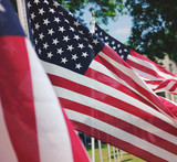 USA American flag shows red, white and blue stars and stripes.   - 207176780
