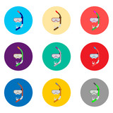 Vector icon illustration for set symbols mask to diving, sea swimming - 207177382