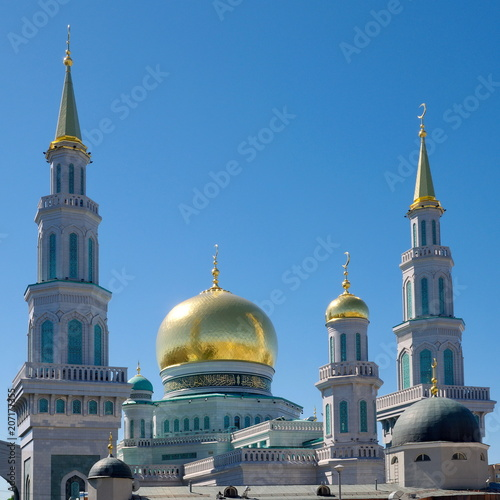 Fotobehang Moskou Domes of the Moscow Cathedral mosque in Moscow, Russia