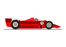 Sticker Of Racing Car Side View Flat  Sticker
