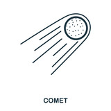 Comet icon. Flat style icon design. UI. Illustration of comet icon. Pictogram isolated on white. Ready to use in web design, apps, software, print.