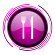 Eat pink glossy web icon isolated on white background