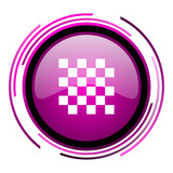 Chess pink glossy web icon isolated on white background