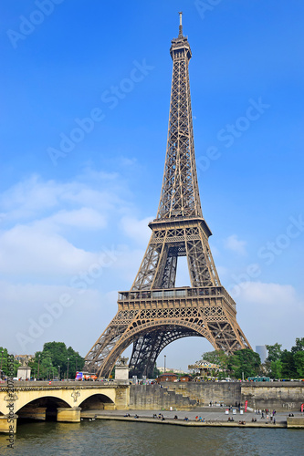Poster view of the Eiffel Tower and river Seine in Paris
