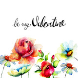 Stylized flowers with title be my Valentine - 207190958