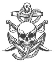 Pirate Skull  Anchor And Sabres Sticker