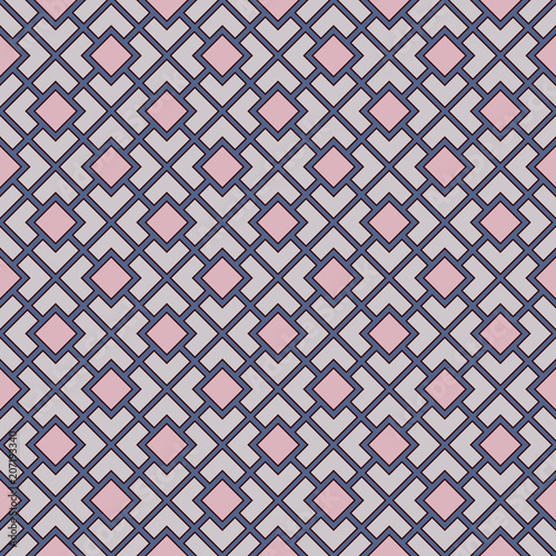 Seamless pattern with symmetric geometric ornament. Pastel color diagonal square chain background. Mosaic wallpaper