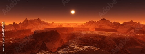 Fotobehang Bruin Panorama of space landscape, alien landscape, 3D rendering