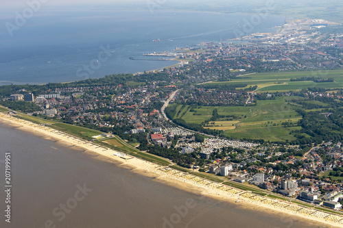 Aluminium Noordzee panorama flight over the north sea islands and the coast of germany