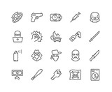 Simple Set of Crime Related Vector Line Icons. Contains such Icons as Robbery, Terrorism, Piracy, Hacking and more. Editable Stroke. 48x48 Pixel Perfect.