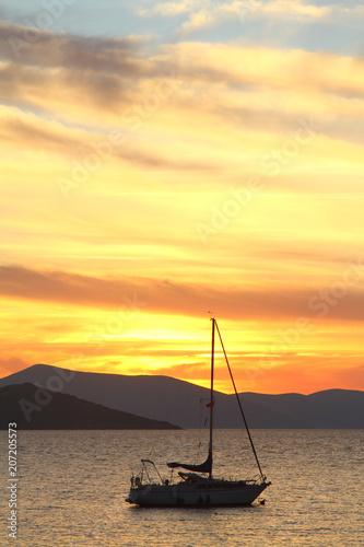 Fotobehang Zwavel geel Seaside town of Turgutreis and spectacular sunsets