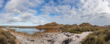 Panoramic view of West Point State reserve beach and rugged coastline, Tasmania, Australia