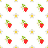 Food - Fruit -  Seamless Pattern with Strawberry Branches and Flowers on a White Background - 207211903