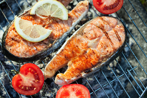 Salmon on grill - 207212107