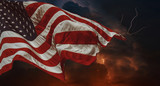 American flag waving in the wind Thunderstorm with lightning Multiple forks of lightning pierce the night sky - 207216355