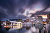 Elizabeth pier and Hobart waterfront with Mount Wellington in he background, captured at sunset in Tasmania, Australia - 207216391