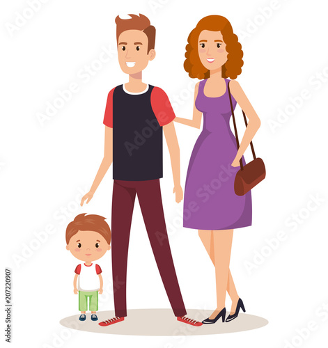 father and mother with son vector illustration design - 207220907