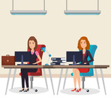 business people in the office isometric avatars vector illustration design - 207221382