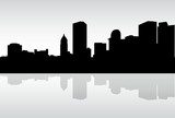 Skyline silhouette of a portion of the downtown riverfront financial district of the city of Pittsburgh, Pennsylvania, USA. - 207223167