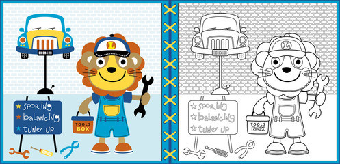 little mechanic cartoon vector with a car, coloring book or page