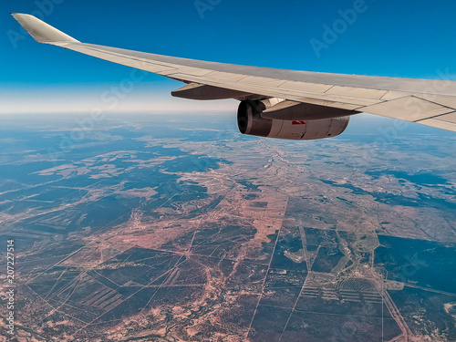 Aerial View from an Airplane Window flying over New Zealand to Australia  - 207227514