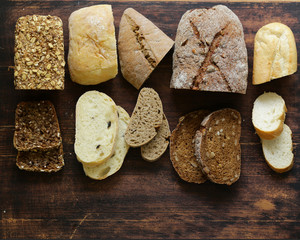 natural organic bread assortment on a wooden background