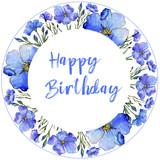 Blue flax. Floral botanical flower. Frame border ornament square. Aquarelle wildflower for background, texture, wrapper pattern, frame or border. - 207235181