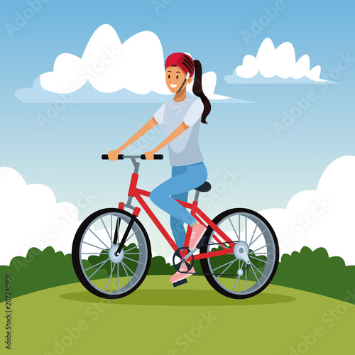 Woman with bike at park vector illustration graphic design
