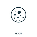 Moon icon. Flat style icon design. UI. Illustration of moon icon. Pictogram isolated on white. Ready to use in web design, apps, software, print.