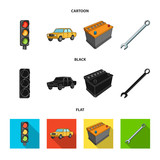 Traffic light, old car, battery, wrench, Car set collection icons in cartoon,black,flat style vector symbol stock illustration web. - 207246373