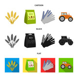 Spikelets of wheat, a packet of seeds, a tractor, gloves.Farm set collection icons in cartoon,black,flat style vector symbol stock illustration web. - 207246702