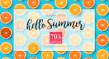 Summer sale background layout banners decorate with orange.voucher discount.Vector illustration template. - 207246783