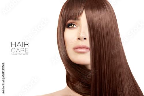 Hair salon concept. Beauty model girl with healthy straight hair