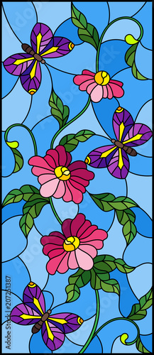 illustration-in-stained-glass-style-with-abstract-curly-pink-flower-and-an-purple-butterfly-on-blue-background-vertical-image