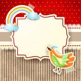 Bird and rainbow on cardboard background