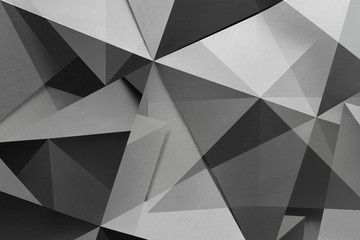Polygonal shapes in black and white, abstract background © Allusioni